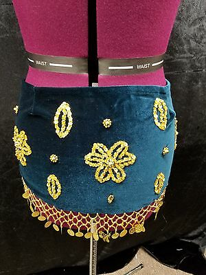 Belly Dance Hip Scarf - Dark Green and Gold