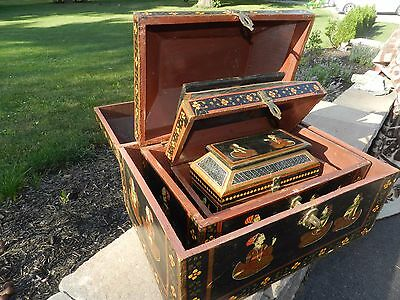 Vtg Persian Middle Eastern Hand Painted Wood Chest Trunk Box Nesting Trunks Set