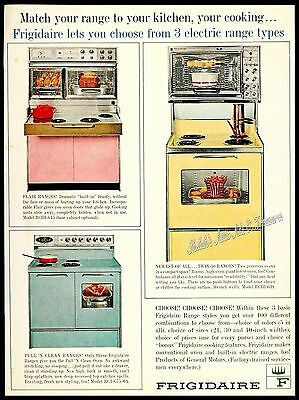 1963 FRIGIDAIRE Flair PINK Dbl Oven TURQUOISE Range GOLD Twin-30 Vtg PRINT AD