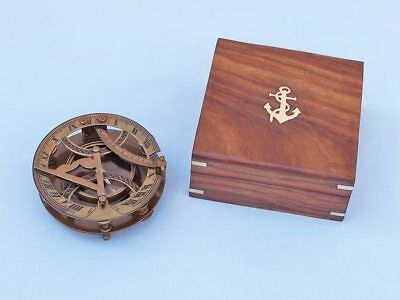 """Antique Brass Round Sundial Compass with Rosewood Box 6"""""""
