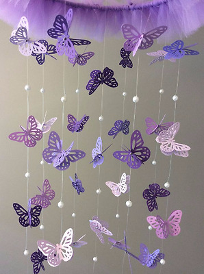Baby / Kids Home Decor Purple Butterfly Mobile w/Tulle