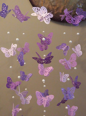 Baby / Kids Home Decor Purple Butterfly Mobile