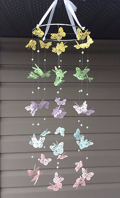 Baby / Kids Home Decor Yellow/Green/Blue/Purple/Pink MultiColor Butterfly Mobile