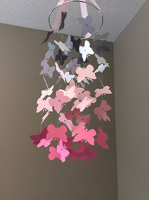 Baby / Kids Home Decor Pink/White/Grey MultiColor Butterfly Mobile