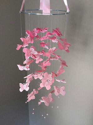 Baby / Kids Home Decor Pink / White Butterfly Mobile