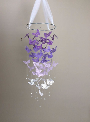 Baby / Kids Home Decor Purple / White Butterfly Mobile