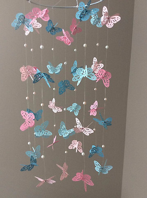 Baby / Kids Home Decor Pink/Blue MultiColor Butterfly Mobile