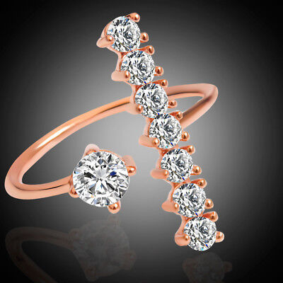 Rose Gold Ring Cocktail Rhinestone Crystal Irregular Charm Band Rings Size 8