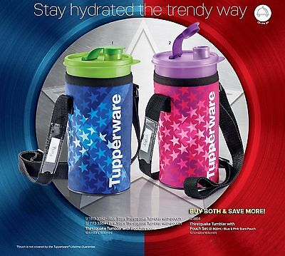 Tupperware thirstquake tumbler with pouch blue and pink stars 900ml (2)