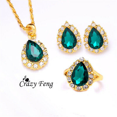Women Gold Chain Jewelry Green Crystal Water Necklace Rhinestones Earrings Kits