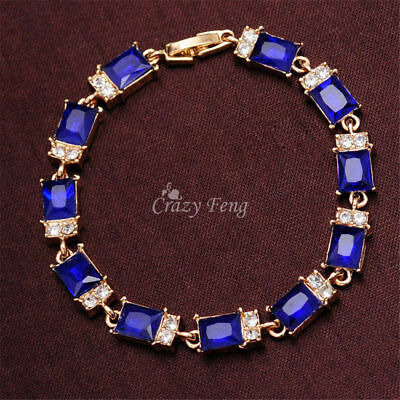 Women Bangle Bracelet Jewelry Royal Blue Crystal Claw Chain Rhinestones Gifts