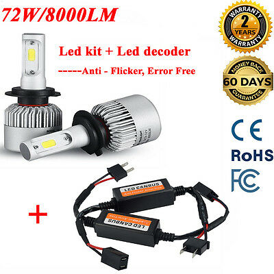 2X H7 Cree 72W Car LED Headlight CANBUS 16000LM Kit Fog light Error Free White
