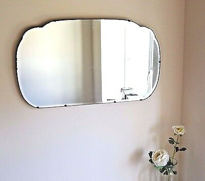 True Vintage Art Deco 1920's Bevelled Edge Frameless Wall Mirror Cloud Shape