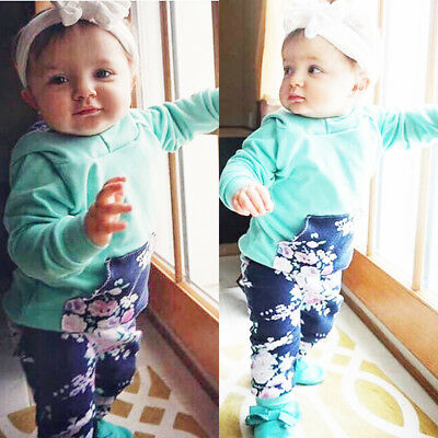 New Toddler Kids Baby Girls Tops Hoodie T-shirt+ Long Pants Outfit Clothes Set