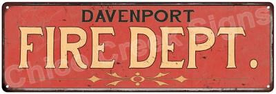 DAVENPORT FIRE DEPT. Vintage Look Metal Sign Chic Decor Retro 6184014