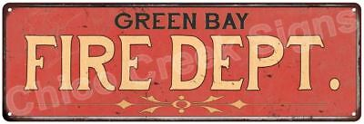 GREEN BAY FIRE DEPT. Vintage Look Metal Sign Chic Decor Retro 6184004