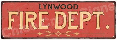 LYNWOOD FIRE DEPT. Vintage Look Metal Sign Chic Decor Retro 6184201