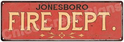 JONESBORO FIRE DEPT. Vintage Look Metal Sign Chic Decor Retro 6184190