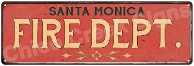 SANTA MONICA FIRE DEPT. Vintage Look Metal Sign Chic Decor Retro 6184058