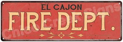 EL CAJON FIRE DEPT. Vintage Look Metal Sign Chic Decor Retro 6184011