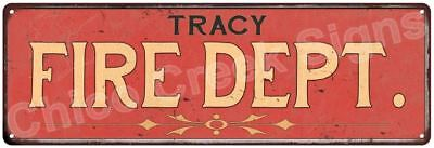 TRACY FIRE DEPT. Vintage Look Metal Sign Chic Decor Retro 6184094