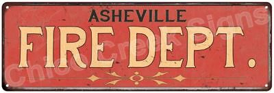 ASHEVILLE FIRE DEPT. Vintage Look Metal Sign Chic Decor Retro 6184077
