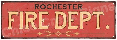 ROCHESTER FIRE DEPT. Vintage Look Metal Sign Chic Decor Retro 6183971