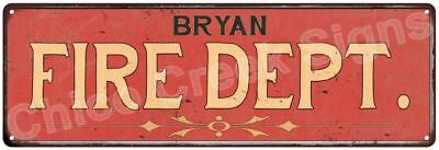 BRYAN FIRE DEPT. Vintage Look Metal Sign Chic Decor Retro 6184125