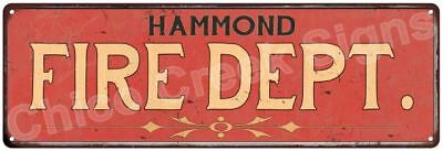 HAMMOND FIRE DEPT. Vintage Look Metal Sign Chic Decor Retro 6184156