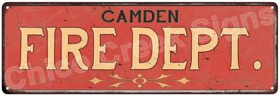 CAMDEN FIRE DEPT. Vintage Look Metal Sign Chic Decor Retro 6184168