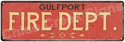 GULFPORT FIRE DEPT. Vintage Look Metal Sign Chic Decor Retro 6184205