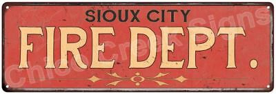 SIOUX CITY FIRE DEPT. Vintage Look Metal Sign Chic Decor Retro 6184121