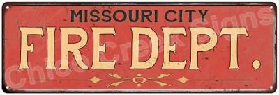 MISSOURI CITY FIRE DEPT. Vintage Look Metal Sign Chic Decor Retro 6184187