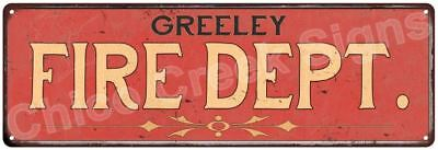 GREELEY FIRE DEPT. Vintage Look Metal Sign Chic Decor Retro 6184019