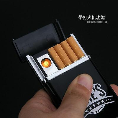 Cigarette Case with Lighter Black USB Charging Lighter Automatic Cigarette Box