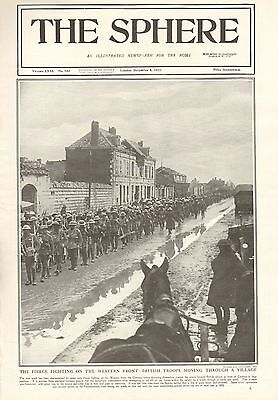 1917 Antique Print- Ww1-British Troops Moving Through A Village