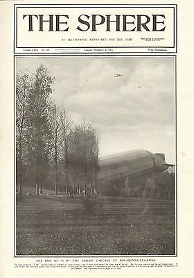 """1917 Antique Print- Wwi - The End Of The """"l 49"""" Airship"""
