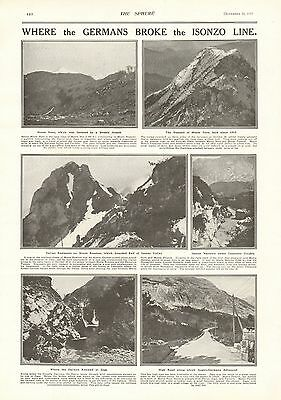 1917 Antique Print- Wwi - Where The Germans Broke The Isonzo Line