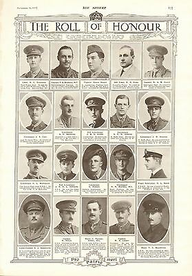 1917 Antique Print- Ww1-Roll Of Honour 8