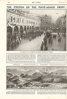 1917 Antique Print- Ww1-The Position On The Piave-Asiago Front