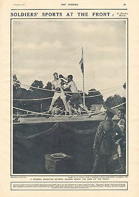 1917 Antique Print- Ww1 - Soldiers Sports At The Front-Boxing