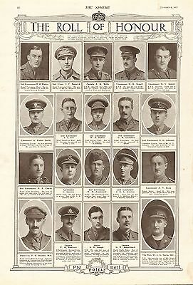 1917 Antique Print- Ww1-Roll Of Honour 5