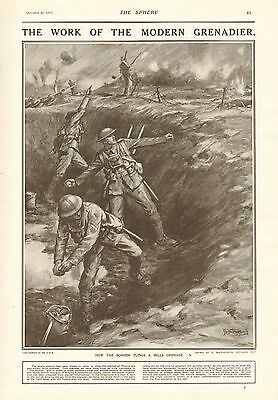 1917 Antique Print- Wwi - The Work Of The Modern Grenadier