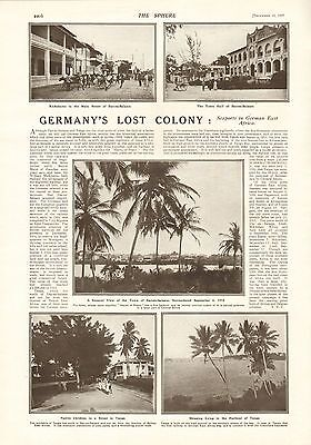 1917 Antique Print- Ww1-Germany's Lost Colony-German East Africa