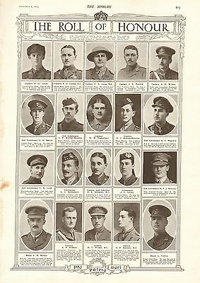 1917 Antique Print- Ww1-Roll Of Honour 7