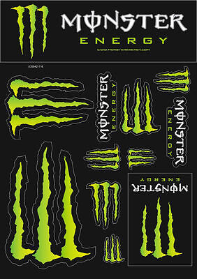 Monster Energy Drinks Logo Sheet of 12 Stickers Decals Adhesive Set