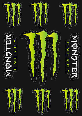 Monster Energy Drinks Logo Sheet of 9 Stickers Decals Adhesive Set