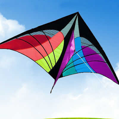 Multicolor Triangle Flying Kite Sports Outdoor Toy Kids Fun Game Single Line New