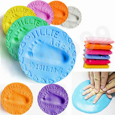 Baby Boy Girl Care Soft Clay Air Drying Dough Hand Foot print Kit Casting Craft