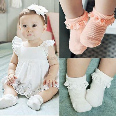 Kids Baby Girls Vintage Princess Lace Ruffle Frilly Trim Cotton Ankle Socks